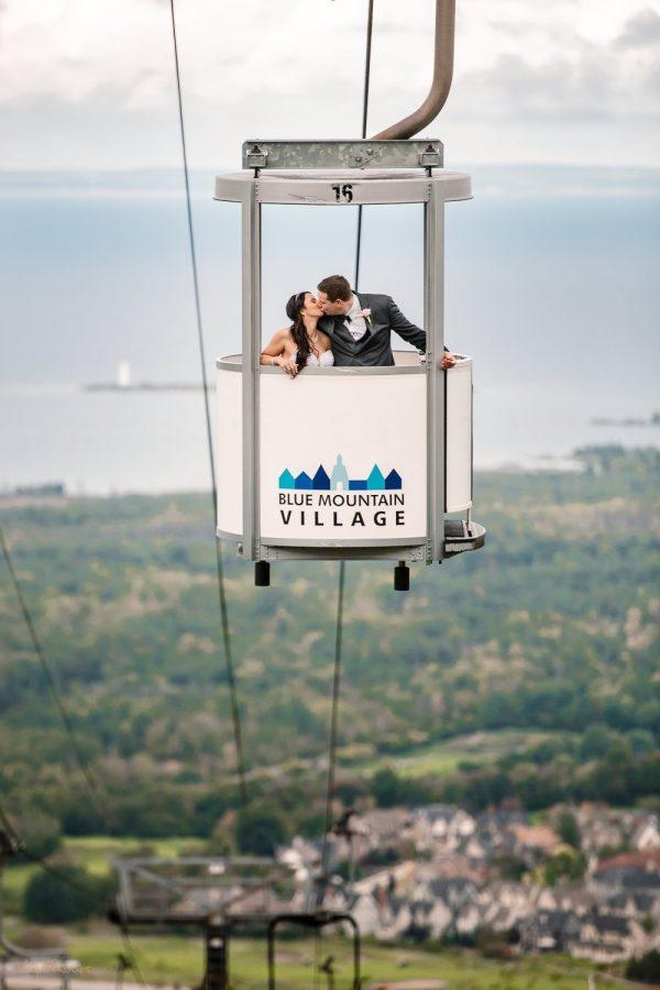 Blue Mountain Village Gondola Wedding Photo