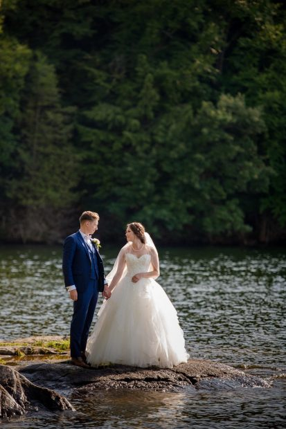 Sherwood Inn Wedding Photo of couple by the water